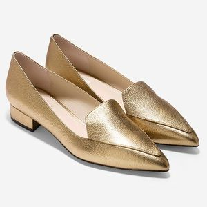"""Cole Haan """"Dellora"""" Skimmer Gold Leather Flats"""